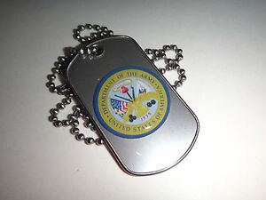 US ARMY Raised Insignia Stainless Steel Dog Tag + Ball Chain New
