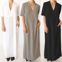 UK 8-24 ZANZEA Women V Neck Beach Summer Ladies Long Maxi Dress Kaftan Plus Size