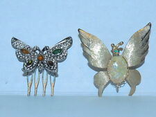 VTG. BUTTERFLY HAIR COMB & JELLYBELLY BUTTERFLY BROOCH