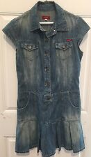 GUESS Jeans Blue Denim Short Sleeve Pleated School Girl Mini Dress Chest 36 S/M