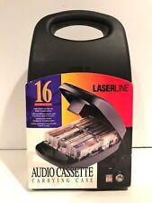 Black Plastic Portable Cassette Tape Storage Carrying Case Holds 16 w/ Handle  Z