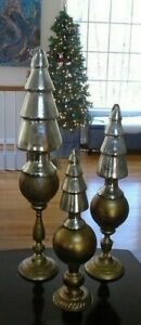 Gold Patina Glass Tree Shaped Topped Tabletop Christmas Finials 2011 In 3 Sizes