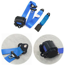 Heavy Duty Blue Nylon Retractable 3 Point Car Seat Lap Belt Safety Belt 88-137cm