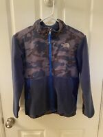 The North Face Blue Camo Denali Fleece Jacket Full Zip Boys Size Large 14-16