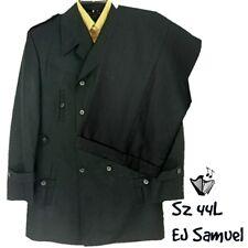 EJ Samuel Suit Sz 44L Black Double Breasted Trench/Epaulets Cuffed Slacks