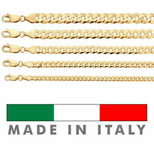 """14k Gold Over REAL Solid 925 Silver Cuban Link Flat Chain 4-8mm 18-30"""" Italy"""