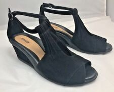 EARTH Caper Wedge Black Suede Ankle Strap 8B.  III