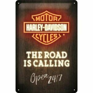Nostalgic Art Shield Harley Davidson The Road Is Calling Open 24/7