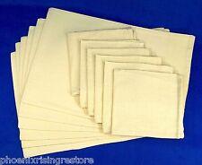 Set 6 100% Fine Linen Place Mats & Dinner Napkins Neutral Ant White Ivory Beige