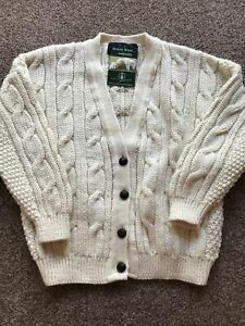 Childs Cream 100% Wool Traditional Cable Knit Aran Cardigan 30 Chest Age 10/11