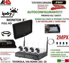 """KIT VIDEOSORVEGLIANZA TELECAMERE WIRELESS NVR  4 TELECAMERA +MONITOR 8""""+ HD320GB"""