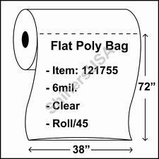 50 4-Mil 40x60 Clear Poly Bag Open Top Lay Flat Packaging 122515