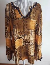 Notations Rayon Long Sleeve Multi Color Brown Pullover Beaded V Neck Womens 1X