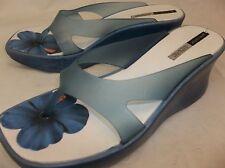 Grendha Adriane Galisteu Womens US 9 Blue Plastic Slip On Wedges Sandals GUC