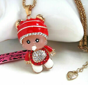 Betsey Johnson Red Crystal Baby Doll Gold Pendant Chain Necklace Free Gift Bag