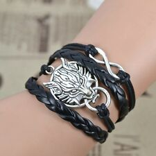 New DIY Wolf Charm Bracelet Vintage Braided Leather Bangle Infinity Love Jewelry