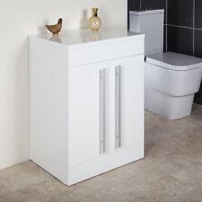 Floorstanding Vanity Unit 600mm Bathroom White Gloss 2 Door Storage Cupboard
