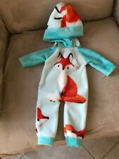 "Foxy~Hoody Jumpsuit~Pajamas~18"" 19"" Slim Doll~Happy Kidz~Beaded Ties~Fleece"