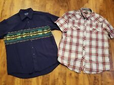 "lot 2 western COWBOY shirt WRANGLER s/s pearl buttons XL 50"" LONGHORN COW tan bl"