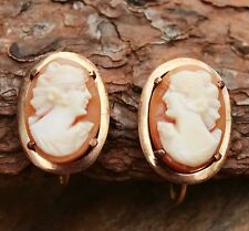 Vintage Earrings 9ct Gold Shell Cameo Screw-in Jewellery Jewelry 9 Carat 9K 9k