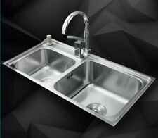 Double Bowl Kitchen Sinks Rectangle Shaped Stainless Steel Sink With Faucets New