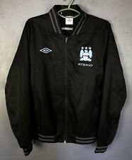 RARE UMBRO MEN'S FC MANCHESTER CITY JACKET SOCCER FOOTBALL HOODIE BLACK SIZE M