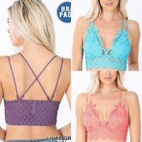 Women Sexy Crochet Lace Bralette Bra V-Neck Padded Cami Tank Crop Top Lingerie