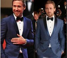 Fashion midnight Blue Groom Tuxedos Best Man Groomsmen Wedding Men's Suits Prom