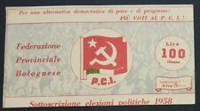 P.C.I BOLOGNA 1958 volantino PCI Partito Comunista elezioni propaganda Bolognese