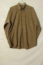 S6336 Scott Barber Men's Large Brown Plaid Long Sleeve Button Up 1 Pocket Shirt
