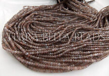 "13"" AAA chocolate BROWN MOONSTONE faceted gem stone rondelle beads 2.5mm - 3mm"