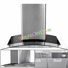 "Stainless Steel & Tempered Glass 30"" Wall Mount Range Hood Stove Powerful Vents"