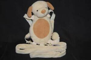 """Dog Harness Backpack Brown Safety Child Sz Gold Bug Plush Toy 12"""""""