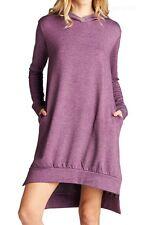 Solid Fleece Long Sleeve Hooded High Low Hem Dress with Side Pockets SM ML