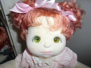 My child doll auburn hair green/brown eyes pink makeup