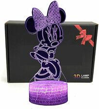 DGLighting Cartoon 3D Optical Illusion 7 Color LED Night Light Minnie Mouse