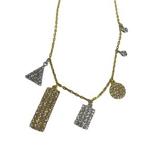 NEW ADORNIA Gold Plated Sterling Silver Swarovski Crystal Necklace $425 Two Tone