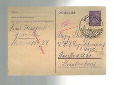 1942 Graudenz Germany to Lebrechtsdorf Concentration Camp Postcard Cover KZ