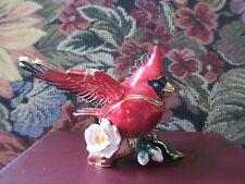 Cardinal In Flight ~ Bejeweled Enamel Trinket Box #3432