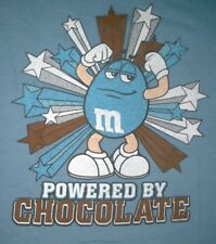 'POWERED BY CHOCOLATE' M&M Candy Men Women Cotton Blue T-Shirt Sz. M