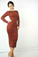 New Womens Brown with White & Black Stripes Ribbed Bodycon Midi Dress Size 8-16