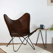 Vintage Handmade Dark Brown Leather Butterfly Chair Home Décor Living Room Chair