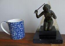 ART DECO MAIDEN GIRL ANTIQUE 1920S PEWTER MUSIC MAESTRO BUST FIGURINE GLASS