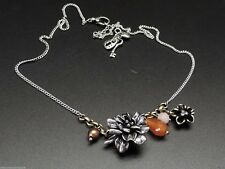 Fossil Blossoms Vintage Silvertone Charm Pendant Flower Necklace NWT