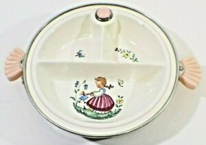 Vintage MCM Majestic Divided Baby Food Dish Warmer and Server 1950's USA