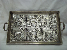 """Vintage 17"""" X 11"""" Silverplated Butler'S Double Handle Serving Tray W/Ball Feet"""
