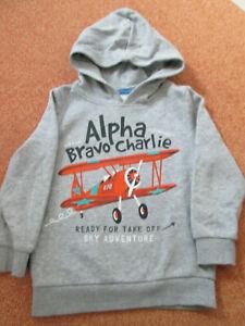 Kinder Jungen Sweat Shirt m. Kapuze; Gr. 116; Farbe: grau; mit Doppeldecker