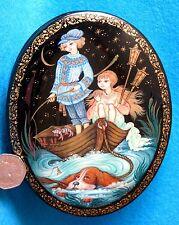 Ruso pintado a mano Kholui Laca caja para joyas Pesca Niños Orlova firmado