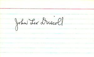 Paddy Driscoll Autographed Signed 3x5 Index Card Chicago Bears JSA Y95101