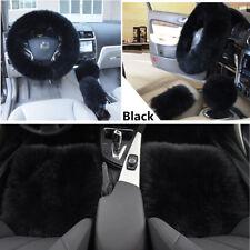 5pc/Set Black Wool Fur Sheepskin Car Front Seat Covers Steering Wheel Covers Kit